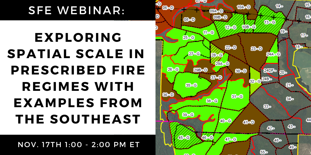 SFE Webinar: Exploring Spatial Scale in Prescribed Fire Regimes with Examples from the Southeast